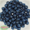 12mm Navy Rhinestone Bubblegum Beads