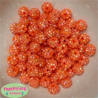 12mm Orange Rhinestone Beads 40 pc