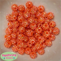 12mm Orange Rhinestone Bubblegum Beads