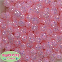 12mm Pale Pink Rhinestone Bubblegum Bead