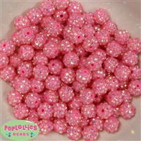 12mm Pink Rhinestone Beads