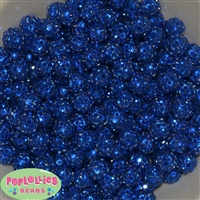 12mm Royal Blue Rhinestone Beads 40 pc