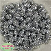 12mm Silver Rhinestone Beads 40 pc