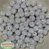 12mm White Rhinestone Bubblegum Beads