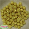 12mm Yellow Rhinestone Bubblegum Beads