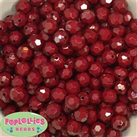 12mm Solid Burgundy Faceted Clear Acrylic Bubblegum Beads