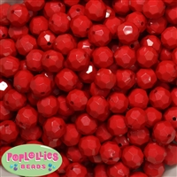 12mm Solid Red Faceted Clear Acrylic Bubblegum Beads