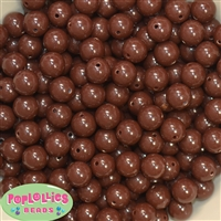 12mm Brown Solid Acrylic Bubblegum Beads
