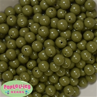 12mm Olive Green Solid Acrylic Bubblegum Beads