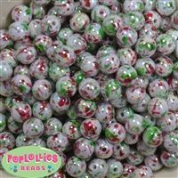 12mm Christmas Splatter Acrylic Bubblegum Beads sold in packages of 40 beads