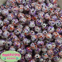 12mm Halloween Splatter Acrylic Bubblegum Beads sold in packages of 40 beads