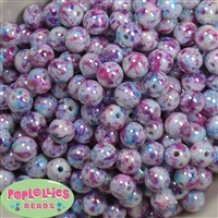 12mm Jewel Splatter Acrylic Bubblegum Beads sold in packages of 40 beads
