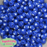 12mm Royal Blue Star Beads 40 pc