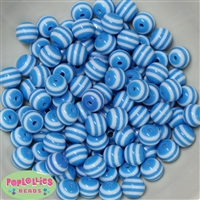 12mm Blue Stripe Bubblegum Beads