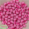 12mm Hot Pink Stripe Bubblegum Beads