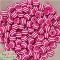 12mm Hot Pink Stripe Beads 40 pc