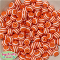 12mm Orange Stripe Beads 40 pc
