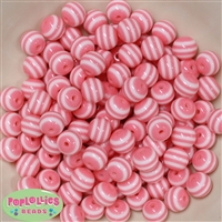 12mm Pink Stripe Beads 40 pc