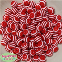 12mm Red Stripe Bubblegum Beads