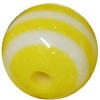 12mm Yellow Stripe Bubblegum Beads