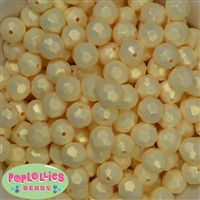14mm Pastel Yellow Faceted Acrylic Bubblegum Beads