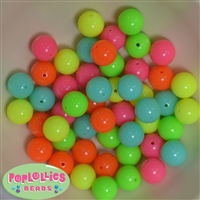 14mm Mixed Color Neon Acrylic Beads 50pc