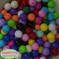 14mm Color Mix Solid Bubblegum Beads Bulk