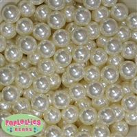 Bulk 14mm Cream Faux Pearl Acrylic Beads
