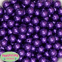 14mm Dark Purple Faux Pearl Acrylic Beads