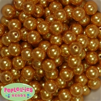 14mm Gold Faux Pearl Bubblegum Beads