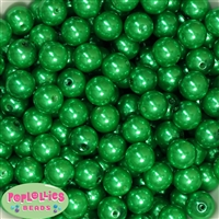 14mm Christmas Green Faux Pearl Acrylic Beads