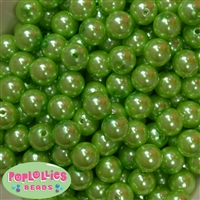 14mm Lime Green Faux Pearl Acrylic Beads