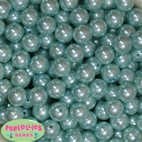 14mm Light Blue Faux Pearl Acrylic Beads