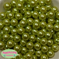14mm Light Olive Green Faux Pearl Bubblegum Beads