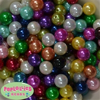 14mm Bulk Color Mix Faux Pearl Acrylic Beads