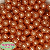 14mm Orange Faux Pearl Acrylic Beads