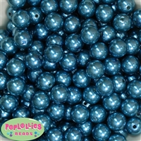 14mm Peacock Blue Faux Pearl Acrylic Beads