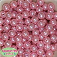 14mm Pink Faux Pearl Bubblegum Beads