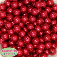 14mm Red Faux Pearl Acrylic Beads