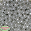 14mm White Faux Pearl Bubblegum Beads