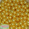 14mm Yellow Faux Pearl Acrylic Beads