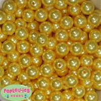 14mm Yellow Faux Pearl Bubblegum Beads