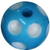 14mm Cyan Blue Polka Dot Acrylic Bubblegum Bead