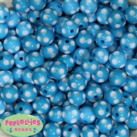 14mm Cyan Blue Polka Dots