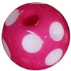 14mm Hot Pink Polka Dot Acrylic Bubblegum Bead