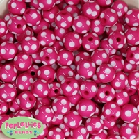 14mm Hot Pink Polka Dot Bubblegum Beads