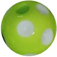 14mm Lime Green Polka Dot Bubblegum Bead