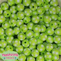 14mm Lime Polka Dots 20 pack