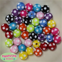 14mm Assorted Color Polka Dot Bubblegum Beads