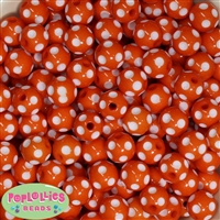 14mm Orange Polka Dot Acrylic Bubblegum Beads